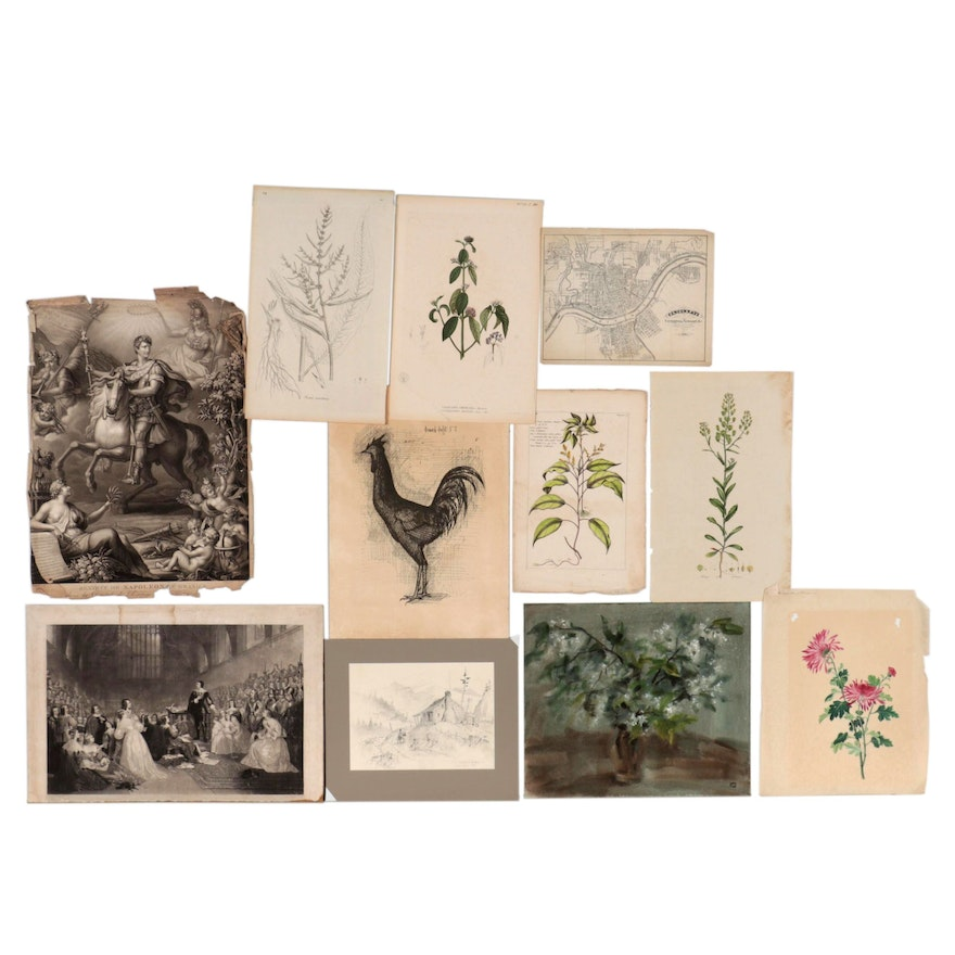 Watercolor Painting, Etchings, and Other Prints, Late 19th-Late 20th Century