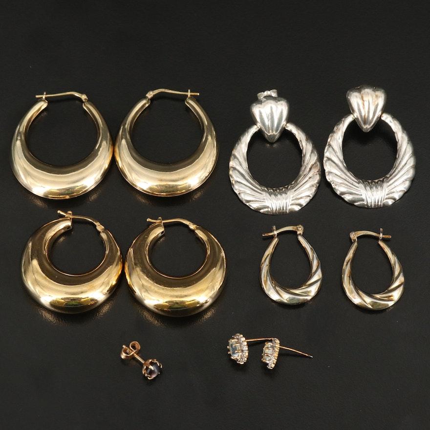 Sterling Hoop and Stud Earrings Including Single 14K Mother of Pearl Earring