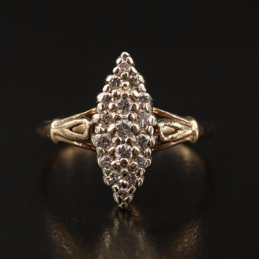 14K Diamond Navette Ring
