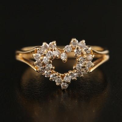 14K Diamond Heart Ring with Split Shoulders