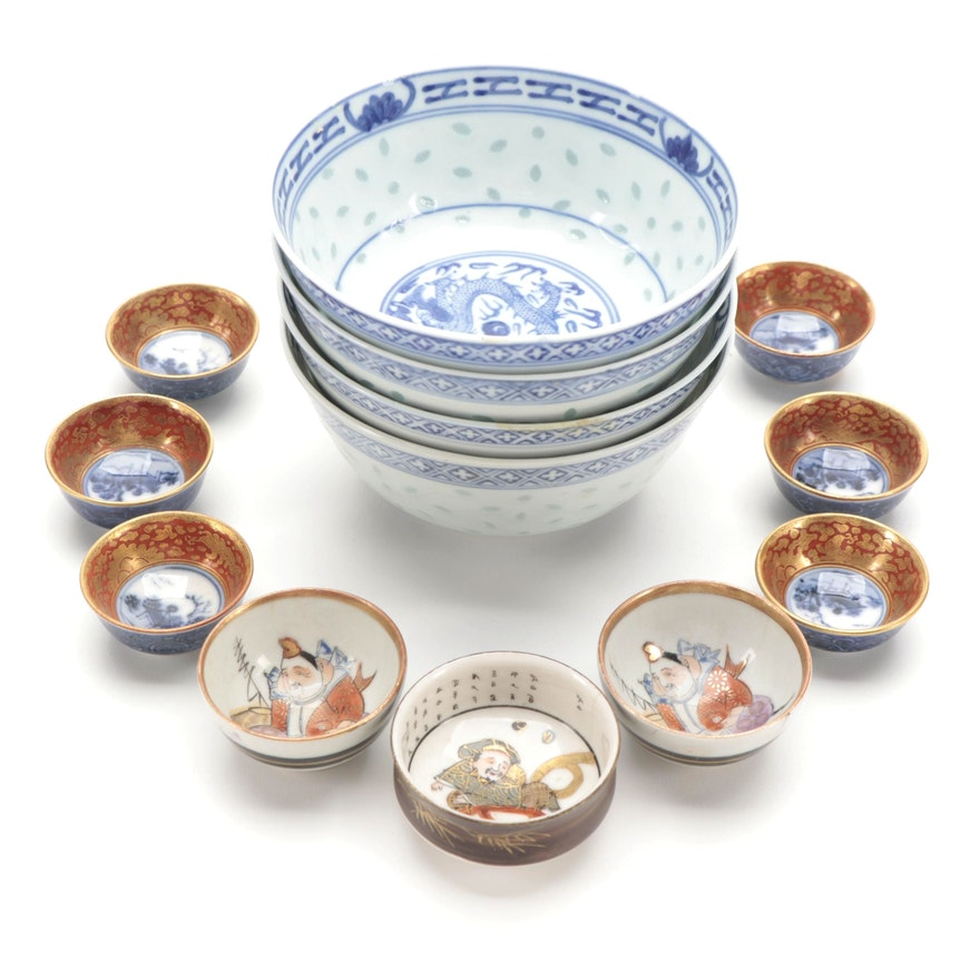 Japanese Kutani Porcelain Condiment Bowls with Chinese Porcelain Rice Bowls