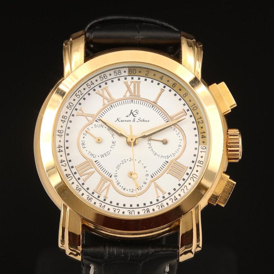 Kronen & Sohne Gold Tone Multifunction Automatic Wristwatch