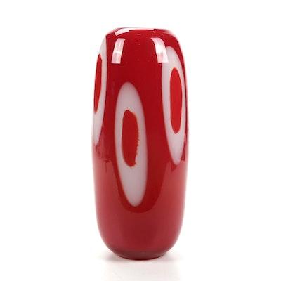 Murano Style Blown Art Glass Bullet Vase