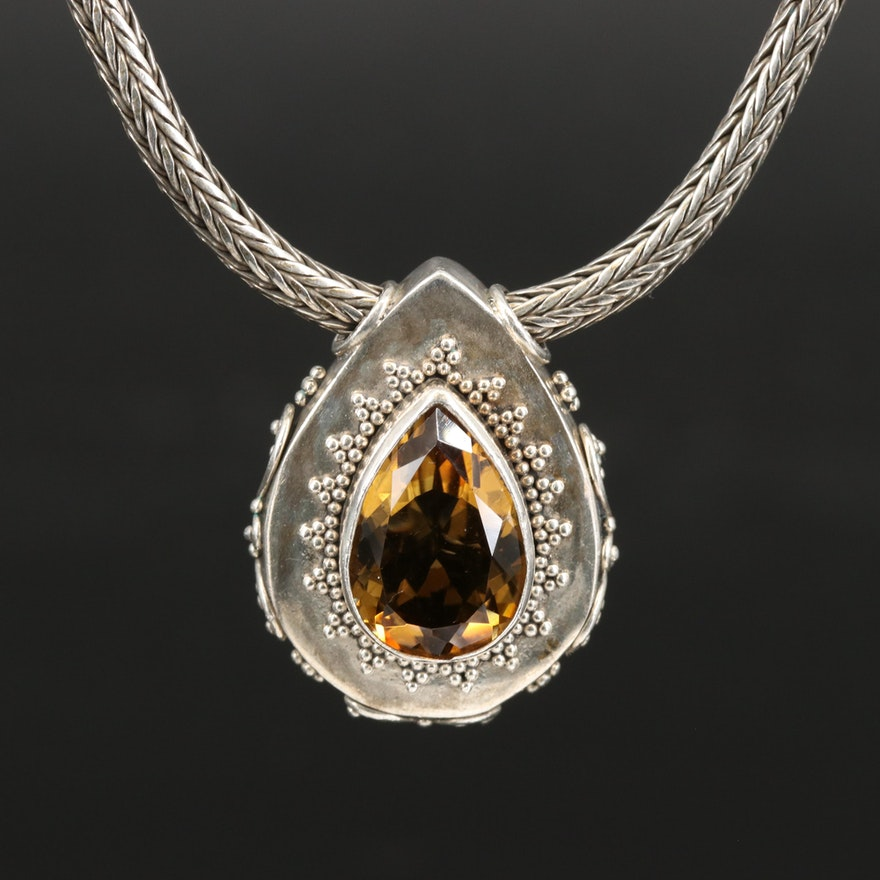 Sterling Citrine Pendant on Wheat Link Chain