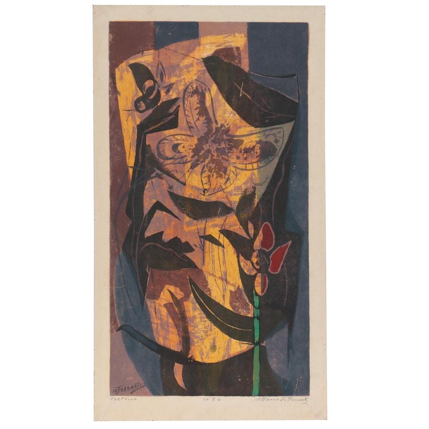 """Mario De Ferrante Serigraph """"Farfalla,"""" Late 20th Century"""