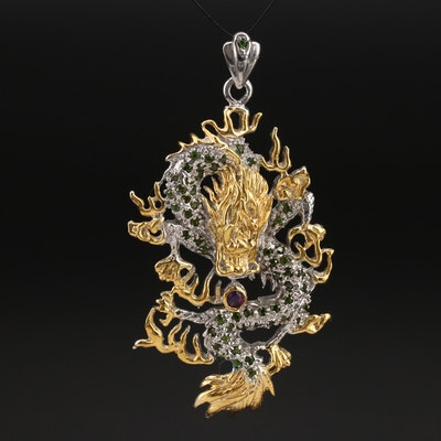 Sterling Garnet and Tourmaline Chinese Dragon Pendant
