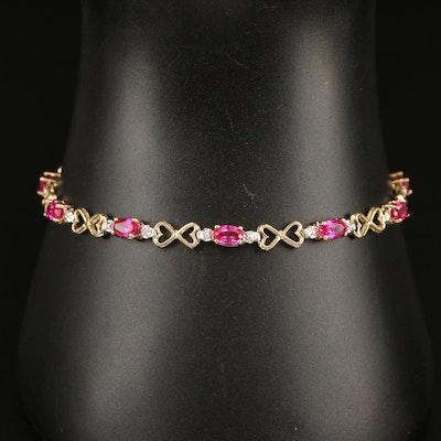 10K Ruby and Diamond Heart Link Bracelet