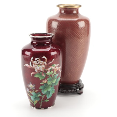 Japanese Pigeon's Blood Ginbari Foil and Chinese Cloisonné Vases