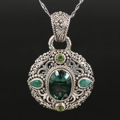 Sarda Mystic Quartz, Emerald and Peridot Pendant Necklace
