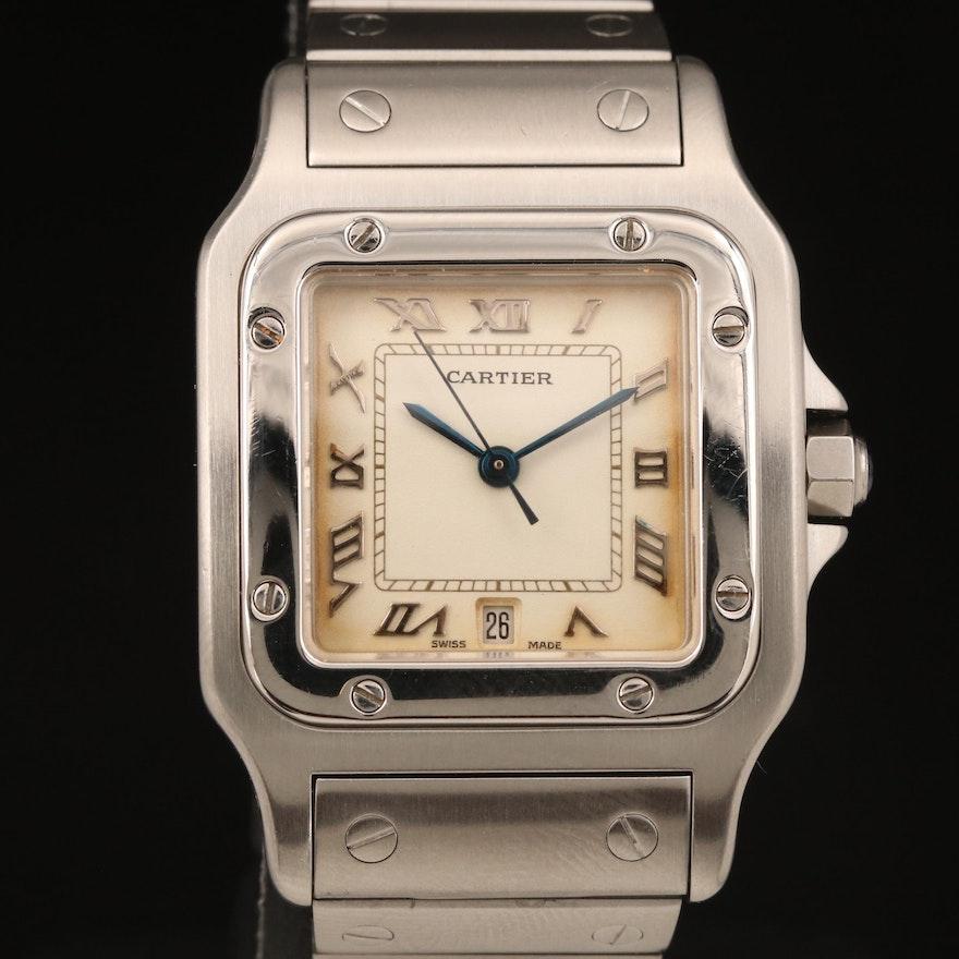 Cartier Santos Stainless Steel Quartz Wristwatch with Date