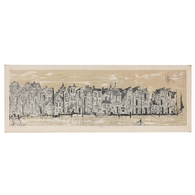 """Lithograph """"Norwegian Village #2,"""" Late 20th Century"""