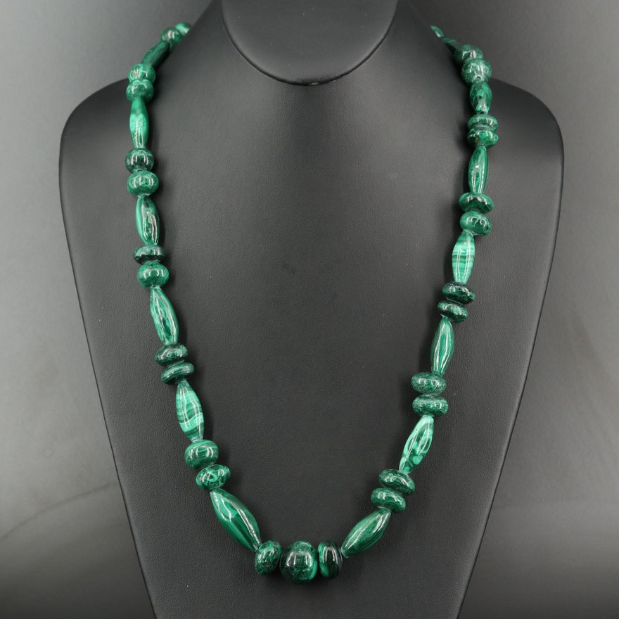 Graduated Malachite Bead Necklace
