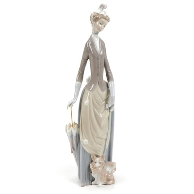 """Lladró """"Lady with Umbrella and Dog"""" Porcelain Figurine, 1971–1974"""