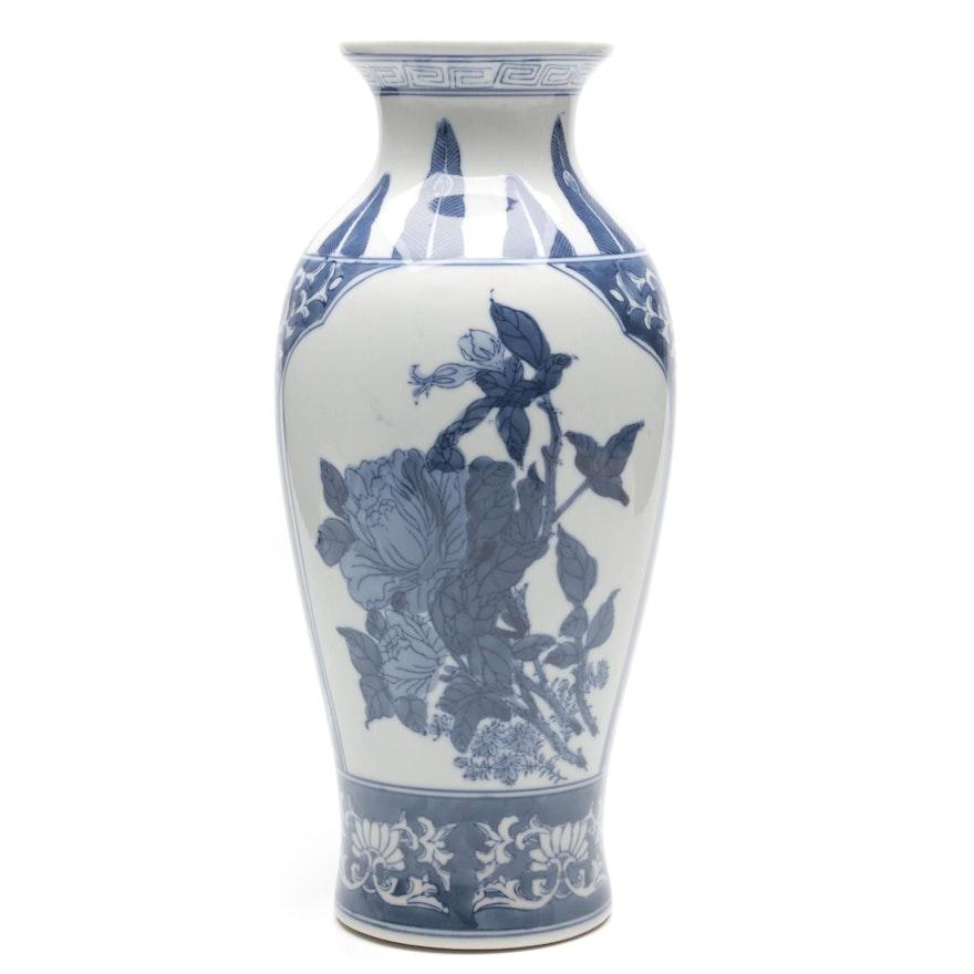 Chinese Blue Painted White Ceramic Vase