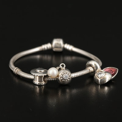 Pandora Sterling Charm Bracelet Including Pearl and Cubic Zirconia