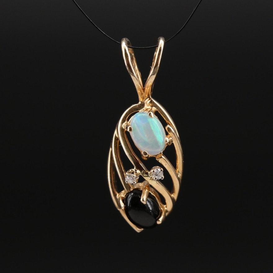 14K Opal, Diamond and Gemstone Pendant