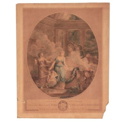"""Figural Engraving """"L'Oracle Des Amans,"""" 19th Century"""