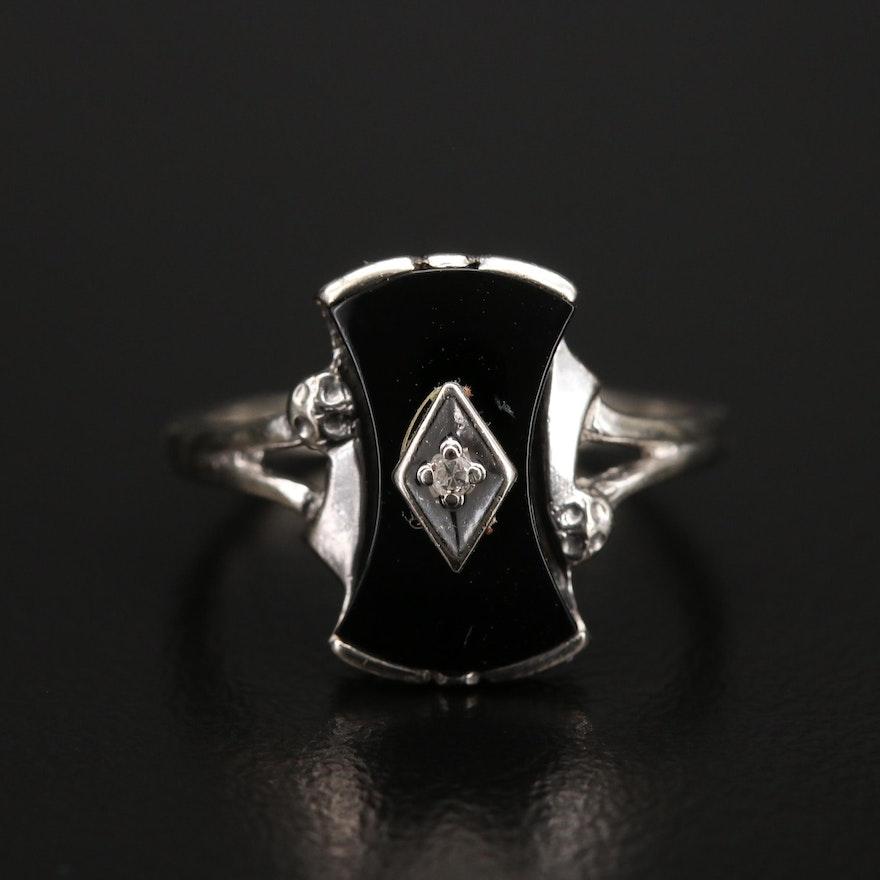 1930s 10K Black Onyx and Diamond Ring