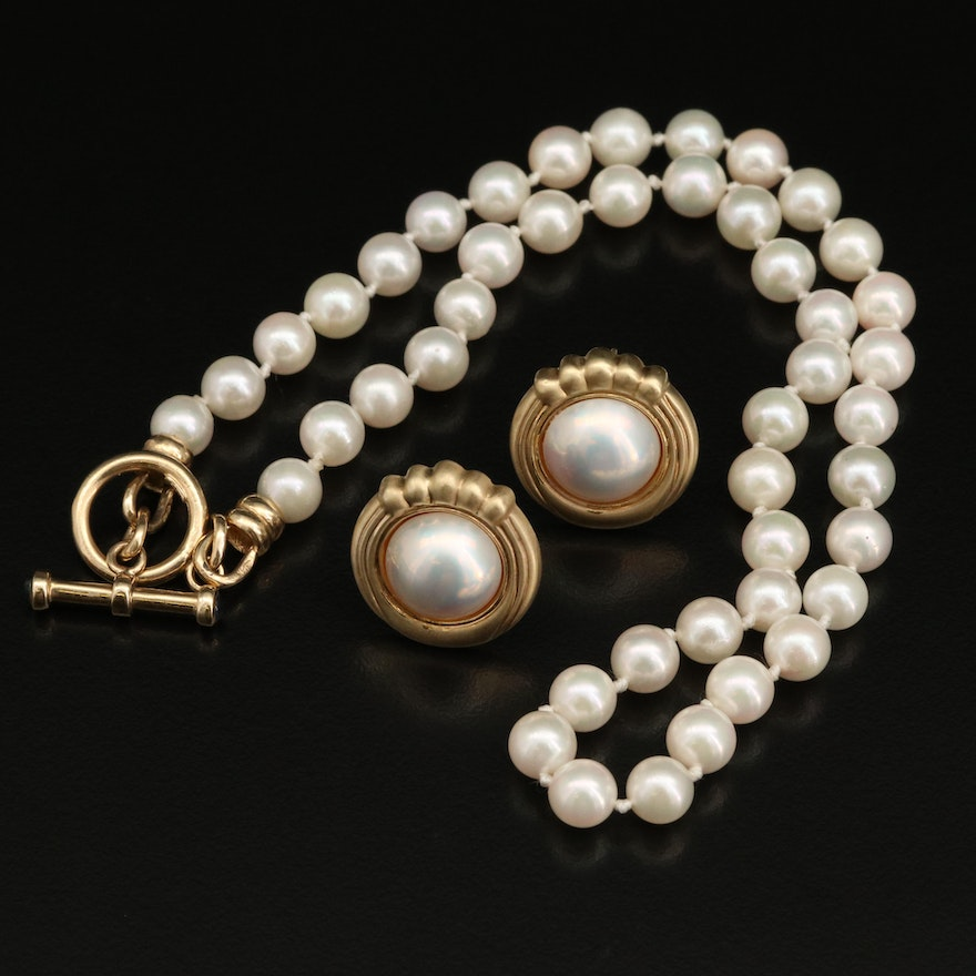 14K Pearl and Sapphire Necklace with Mabé Pearl Earrings