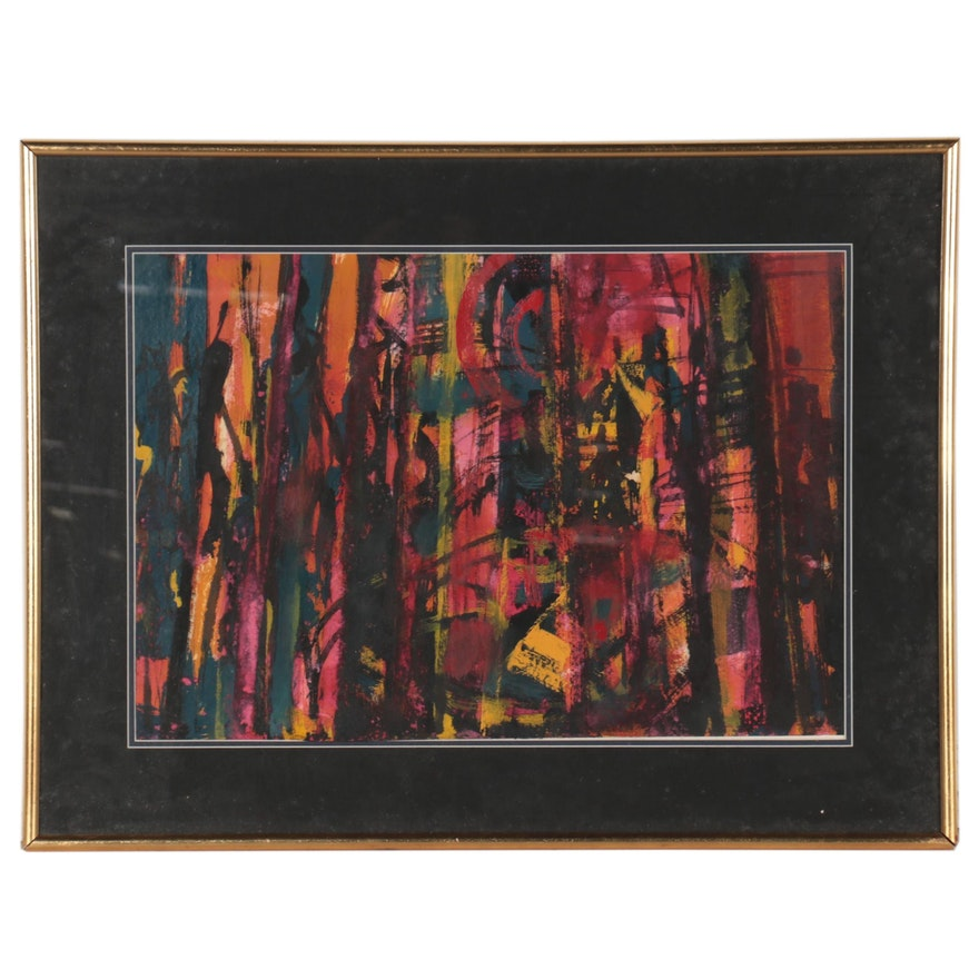 Non-Objective Abstract Oil Painting, Late 20th Century