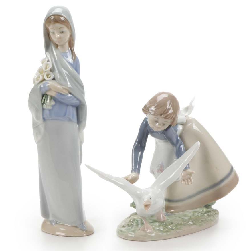 """Lladró """"Wild Goose Chase"""" and """"Girl With Flowers"""" Porcelain Figurines"""