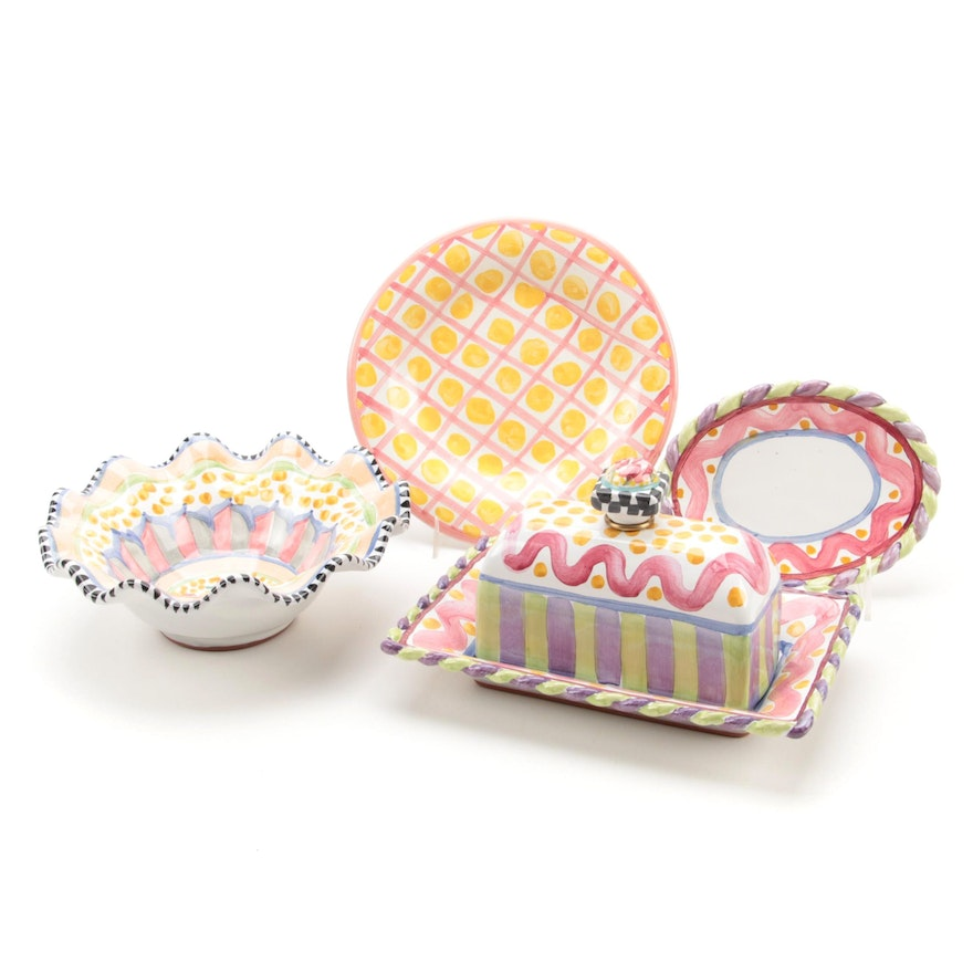 """MacKenzie-Childs """"Piccadilly"""" Butter Dish and Other Tableware"""