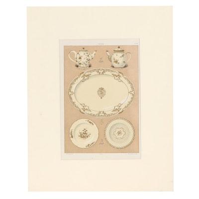 Gillot Chromolithograph After Edouard Garnier of Dishware