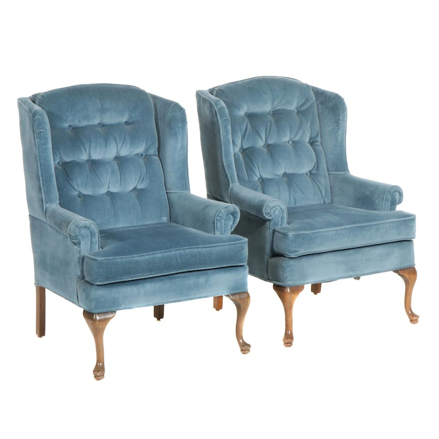 Pair of Lazarus Queen Anne Style Wingback Chairs, Late 20th Century