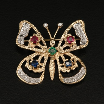 14K Ruby, Sapphire, Emerald and Diamond Butterfly Brooch