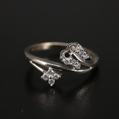 14K Diamond Butterfly and Flower Bypass Ring