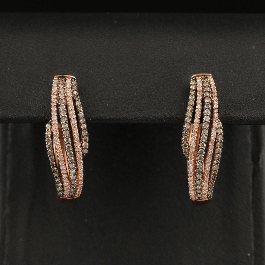 10K Rose Gold 1.10 CTW Diamond Oval Hoop Earrings