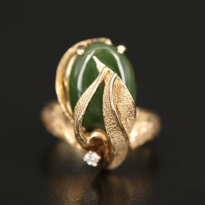 Vintage 14K Nephrite Foliate Ring with Diamond Accent
