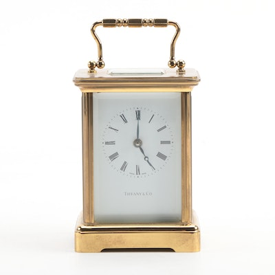 Tiffany & Co. Brass and Glass Desk Clock, Late 20th Century