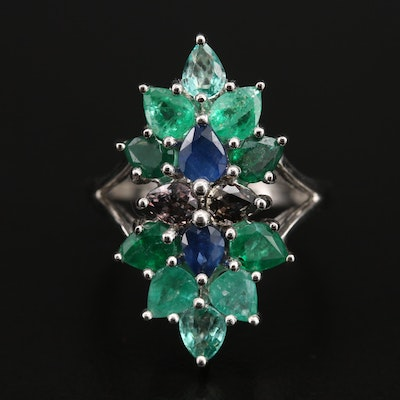 Sterling Emerald, Sapphire and Gemstone Pointer Ring