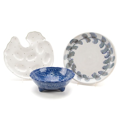 Hand-Painted Art Pottery Plates and Footed Bowl