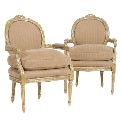 Pair of William Switzer Louis XVI Style Armchairs