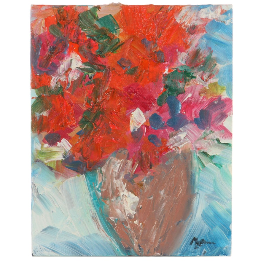"Claire McElveen Oil Painting ""Zinnias,"" 2021"