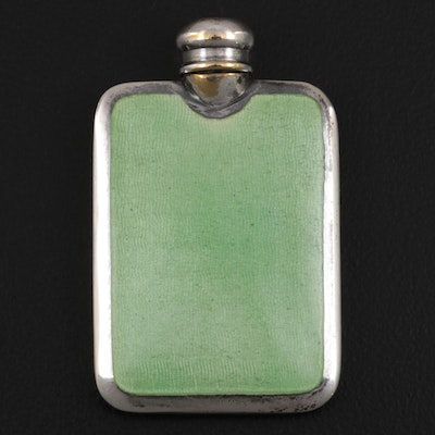 Enameled Guilloché on Sterling Front Scent Bottle, Early 20th Century