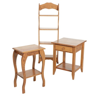 Two Oak Side Tables and Open Bookcase