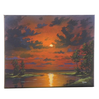 "Douglas ""Bumo"" Johnpeer Oil Painting ""Evening Marsh"""