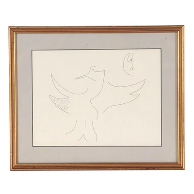 Abstract Ink Drawing of a Bird, Late 20th Century
