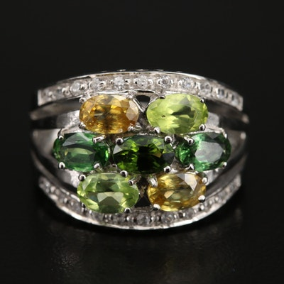 Sterling Topaz, Peridot and Gemstone Ring