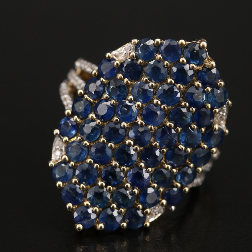 Sterling Silver Sapphire and Topaz Cluster Ring