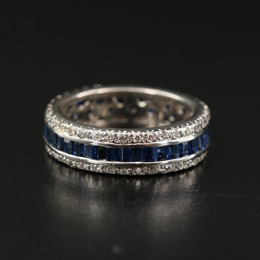 18K Sapphire and Diamond Eternity Band