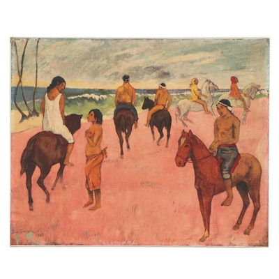"""Offset Lithograph After Paul Gaugin """"Riders on the Beach II"""""""