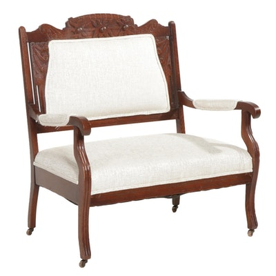 Victorian Carved Oak Settee on Casters, Early 20th Century