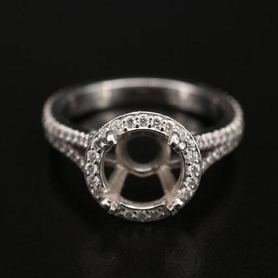 Blue Nile Platinum Diamond Semi-Mount Ring with Split Shoulders