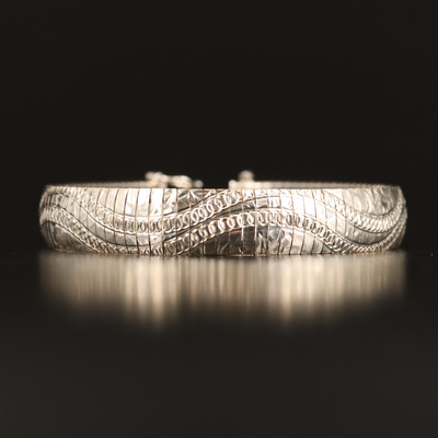 Italian Sterling Silver Patterned Omega Link Bracelet