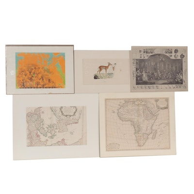 Lithographs and Map Engravings, Mid to Late 20th Century
