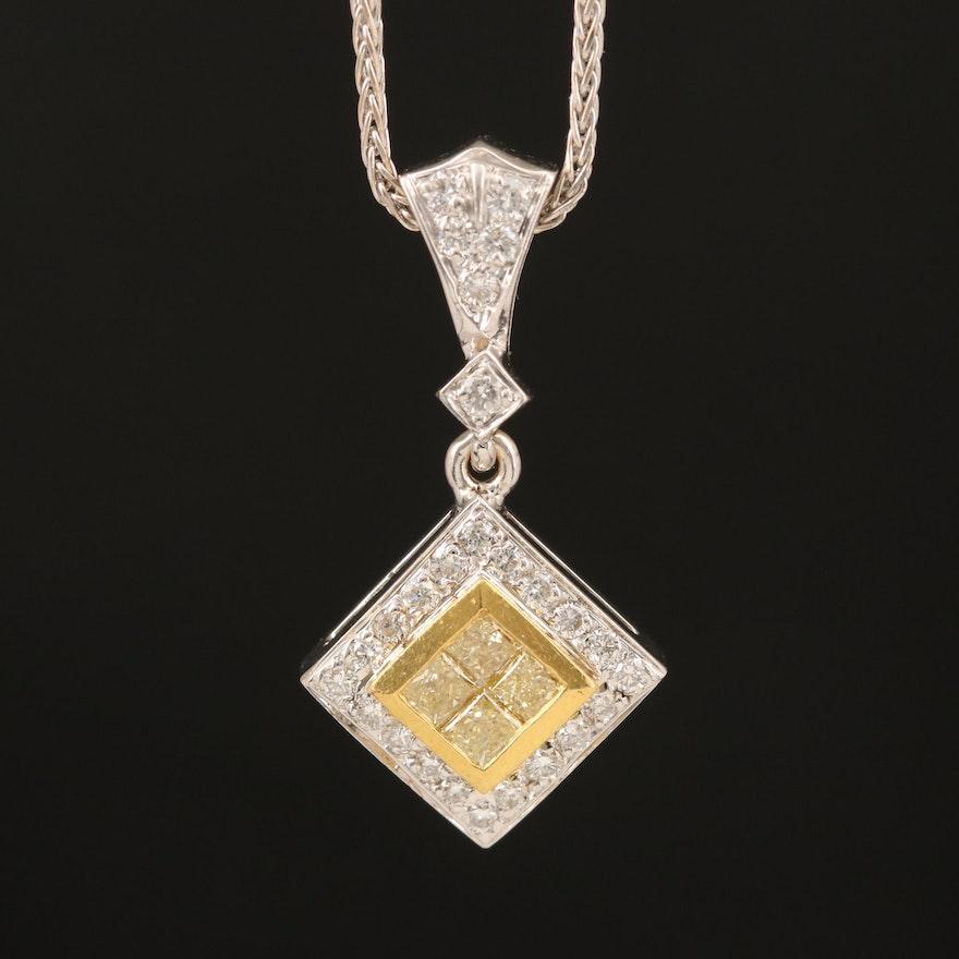 18K 0.92 CTW Diamond Pendant Necklace with 22K Accents